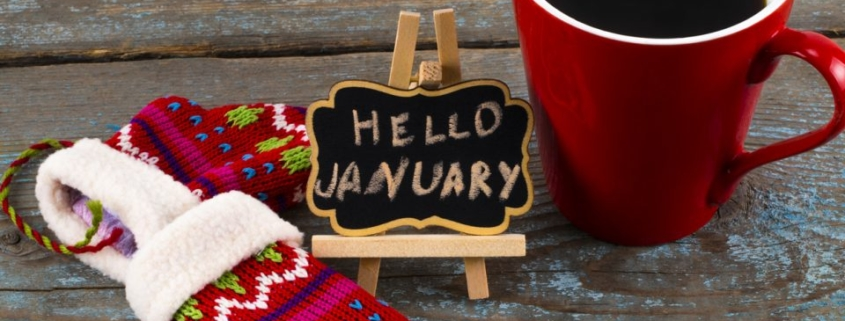 Concept january message on blackboard with a Cup of coffee and mittens